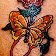 Yellow & Red Butterfly Rose Tattoo Design