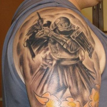 Yellow Samurai Shoulder Tattoo Design