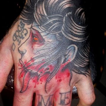Zombie Hand, Head Tattoo Design For Women (female)