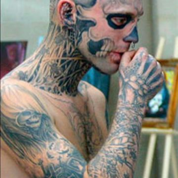 Zombie Head, Face, Neck Tattoo Design For Men (male)