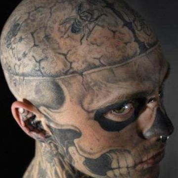 Zombie Head, Face Tattoo Design For Men (male)