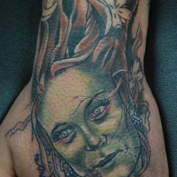 Zombie Head Tattoo Design For Women (female)