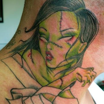 Zombie Neck Tattoo Design For Women (female)