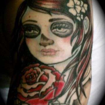 Zombie Rose Tattoo Design For Women (female)