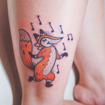 Cartoon Fox Music Ankle Tattoo Design