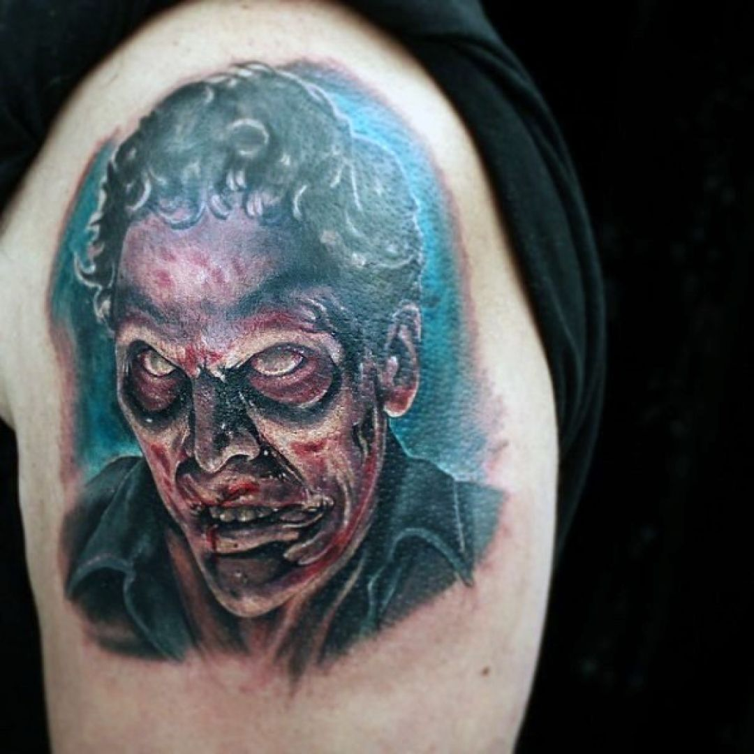 Colorful Portrait Zombie Shoulder Tattoo Design For Women (female) (299032) - Colorful Tattoos