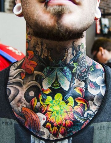 Colorful Bug Neck Tattoo Design