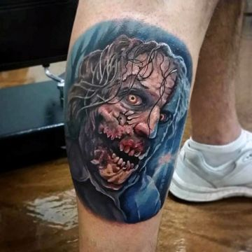 Colorful Zombie Monster Face, Leg Tattoo Design
