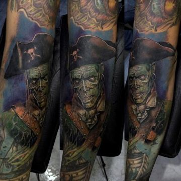 Colorful Zombie Pirate Forearm Tattoo Design