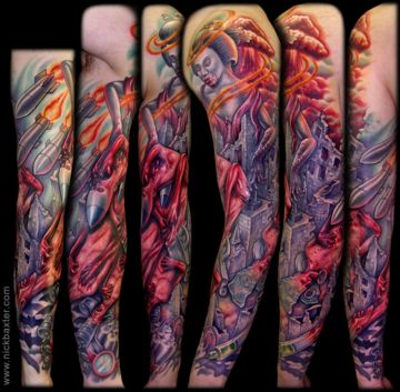 Colorful Zombie Sleeve Tattoo Design