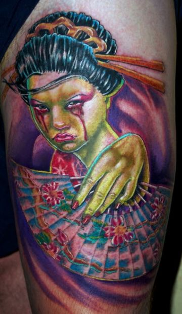 Colorful Zombie Thigh Tattoo Design For Women (female)