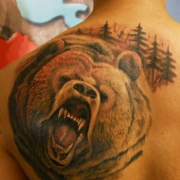 Colorful Bear Head, Back Tattoo Design