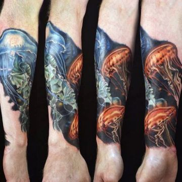 Colorful Jellyfish Wrist Tattoo Design