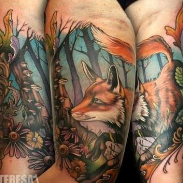 Colorful Red Fox Arm Tattoo Design