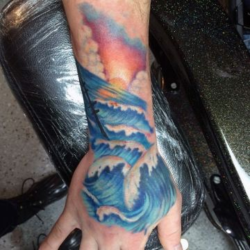 Colorful Ship Wrist Tattoo Design