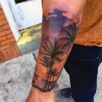 Colorful Wrist, Palm Tattoo Design