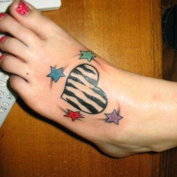 Colorful Zebra Heart Foot Tattoo Design