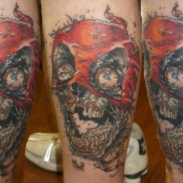 Colorful Zombie Evil Skull Leg Tattoo Design