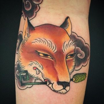 Funny Fox Key Leg Tattoo Design