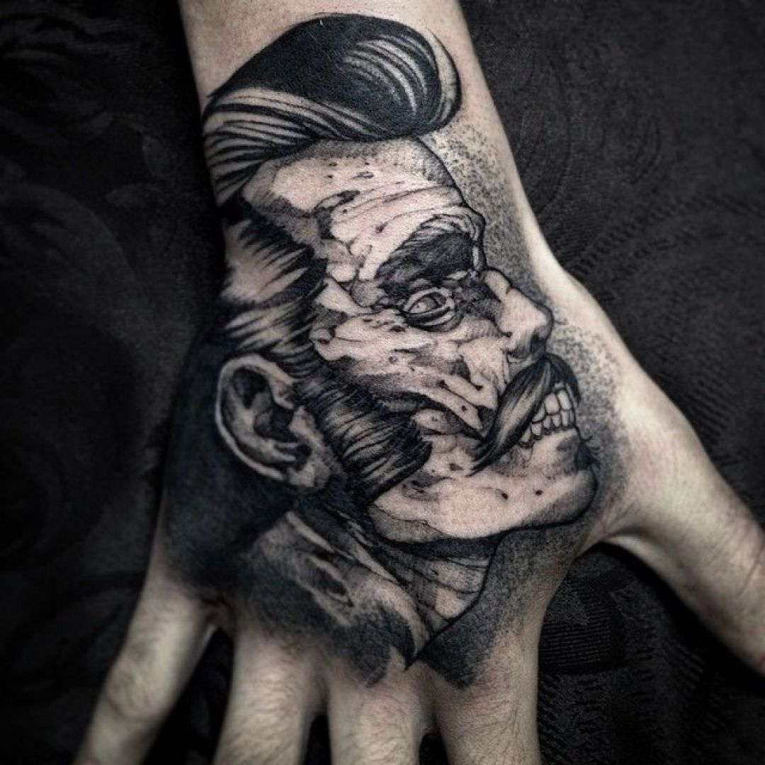 Ink Black Zombie Monster Face, Hand Tattoo Design (298989) - Ink Tattoos
