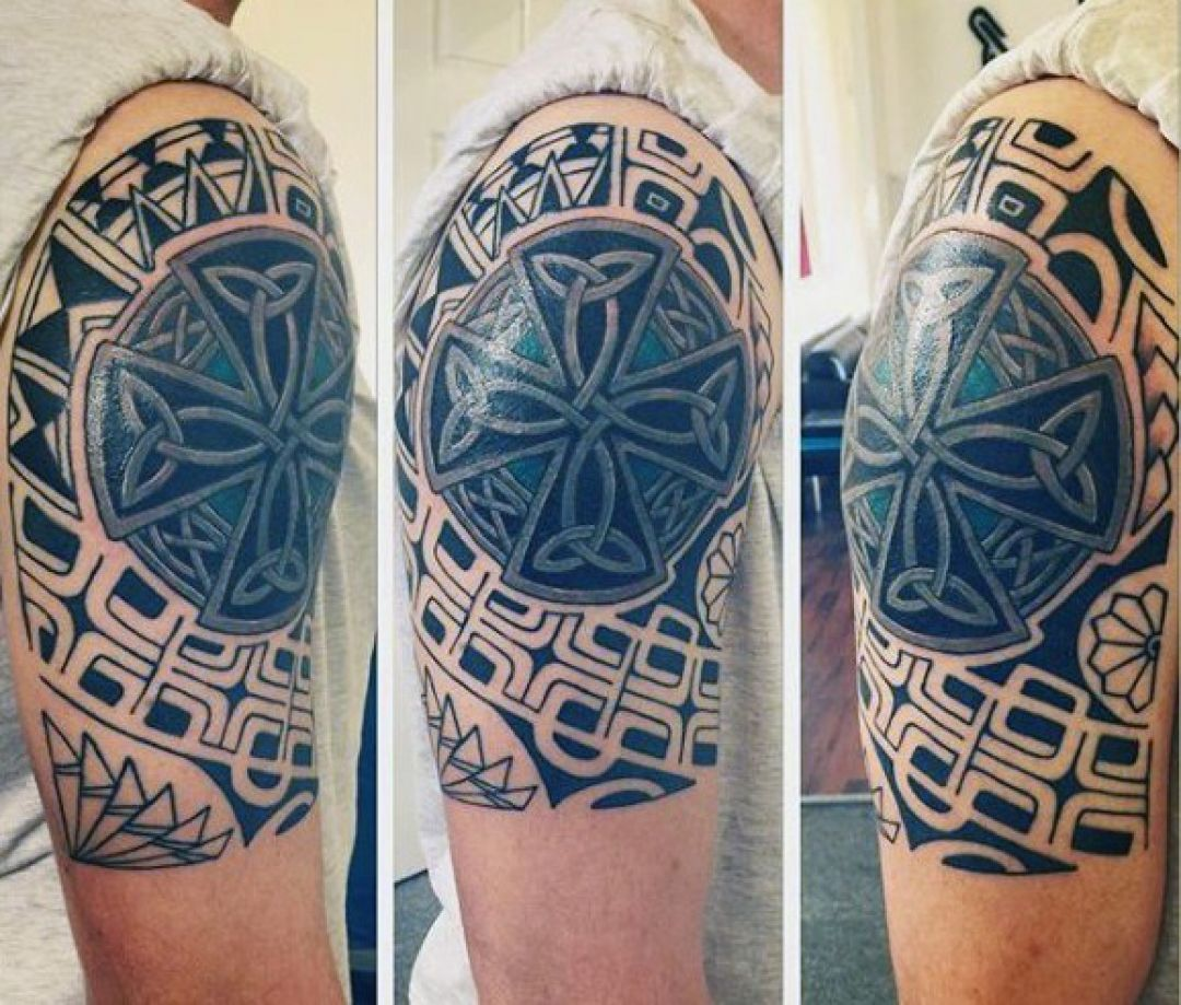 Ink Tribal Black Cross Sleeve Tattoo Design (239756) - Ink Tattoos