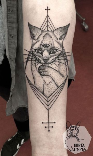 Ink Black Cat Cross Shoulder Tattoo Design