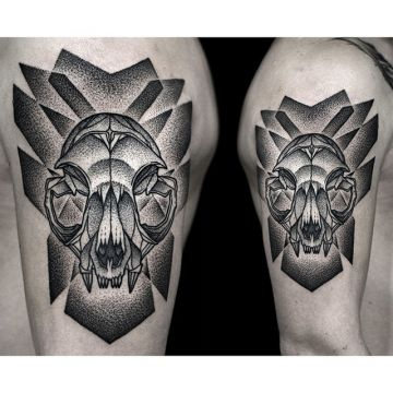 Ink Black Cat Skull Shoulder Tattoo Design