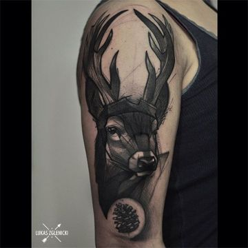 Ink Black Deer Shoulder, Head Tattoo Design