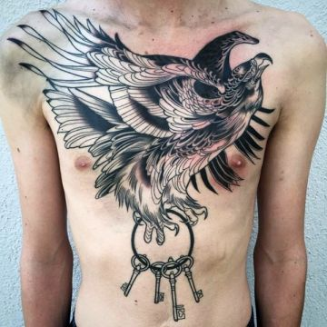 Ink Black Key Eagle Chest Tattoo Design