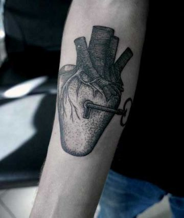 Ink Black Key Lock Heart Arm Tattoo Design