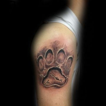 Ink Black Lion Paw Shoulder Tattoo Design