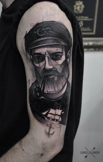 Ink Black Sailor Shoulder Tattoo Design