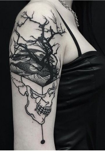 Ink Black Skull Tree Shoulder Tattoo Design