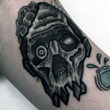 Ink Black Zombie Arm, Face Tattoo Design