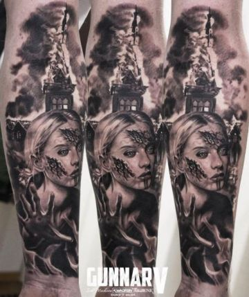 Ink Black Zombie Forearm Tattoo Design For Women (female)