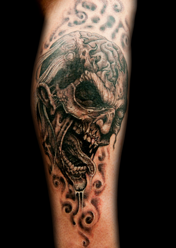 Ink Black Zombie Monster Forearm, Face Tattoo Design