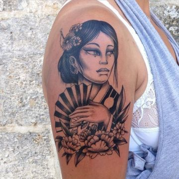 Ink Portrait Black Shoulder Tattoo Design For Women (female)