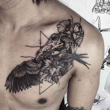 Ink Black Animal Skull Chest Tattoo Design