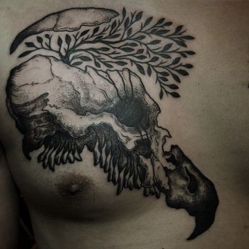 Ink Black Animal Skull Tree Chest Tattoo Design
