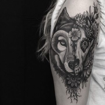 Ink Black Animal Skull Wolf Arm, Head Tattoo Design