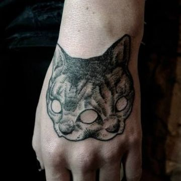 Ink Black Cat Mask Hand Tattoo Design