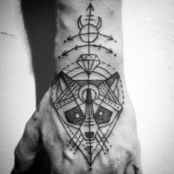 Ink Black Hand, Head Tattoo Design