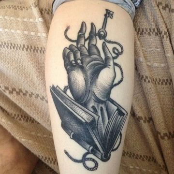 Ink Black Key Hand, Leg Tattoo Design