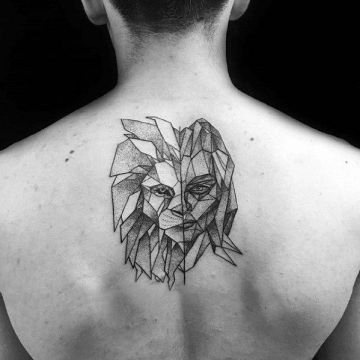 Ink Black Lion Back Tattoo Design