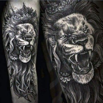 Ink Black Lion Crown Arm Tattoo Design