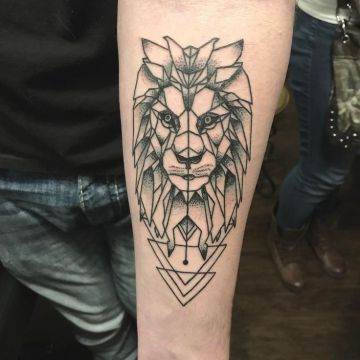 Ink Black Lion Forearm, Head Tattoo Design