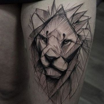 Ink Black Lion Thigh Tattoo Design