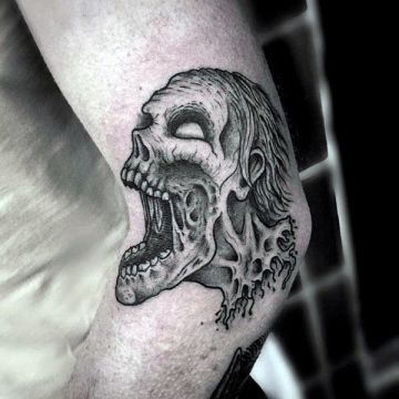 Ink Black Zombie Monster Elbow Tattoo Design