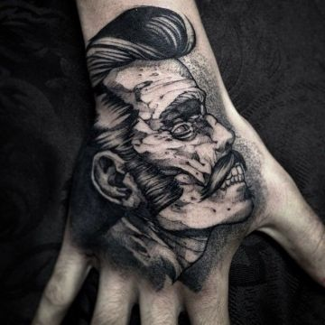 Ink Black Zombie Monster Face, Hand Tattoo Design