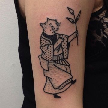Ink Cat Shoulder Tattoo Design